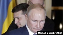 Владимир Зеленский и Владимир Путин на встрече во Франции, 9 декабря 2019 года