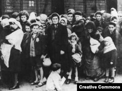 Група угорських євреїв після прибуття в Аушвіц. Літо 1944 року